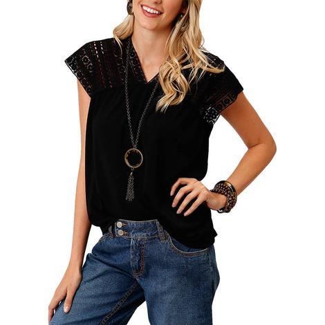 Roper Black Crochet Lace Sleeve Women's Top