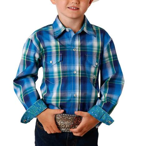 Roper Blue Plaid Long Sleeve Buttondown Boy's Shirt