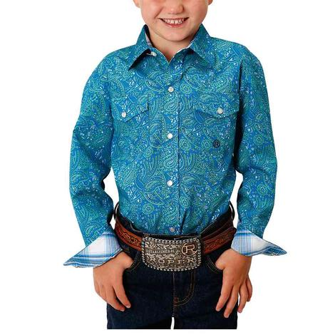Roper Blue Paisley Print Long Sleeve Buttondown Boy's Shirt
