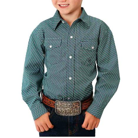 Roper Navy Green Print Long Sleeve Boy's Snap Shirt