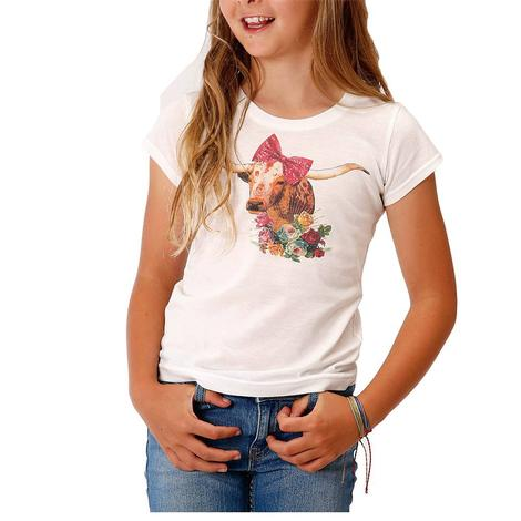 Roper White Longhorn Graphic Tee for Girl's