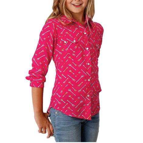 Roper Pink Arrow Long Sleeve Girl's Snap Shirt