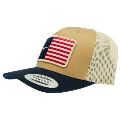 Kimes Ranch American Trucker Brown with Flag Meshback Cap