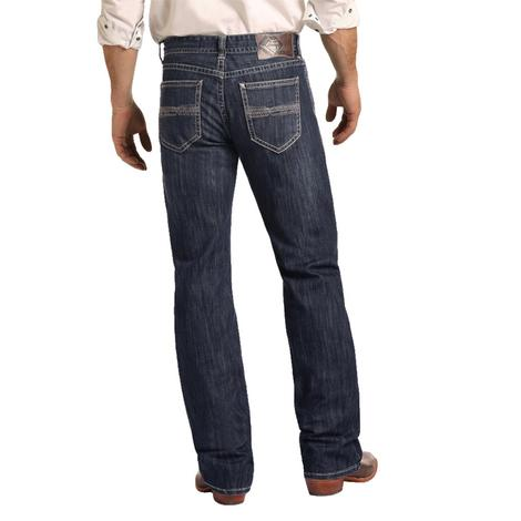 Rock and Roll Cowboy Men's Double Barrel Straight Leg Reflex Dark Vintage Jeans