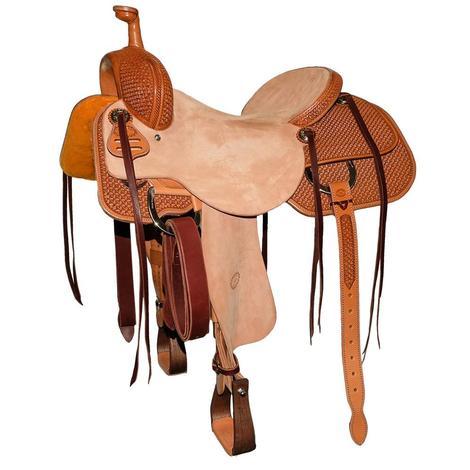 STT Custom Ranch Cutter Antiqued Hermann Oak Half Tooled Dotted X Saddle