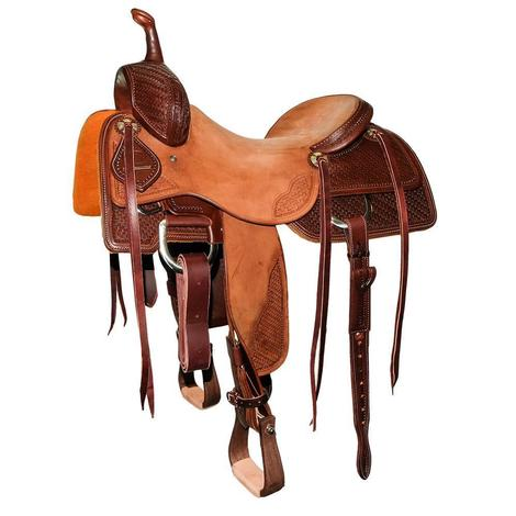 STT Cutter 3/4 Mahogany Bamboo Tooled and Natural Roughout Saddle