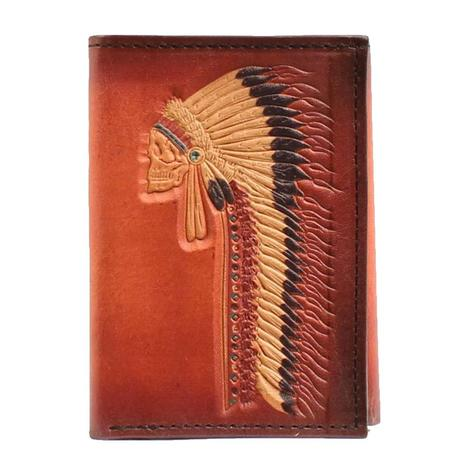 Ariat Tan Indian Chief Trifold Wallet