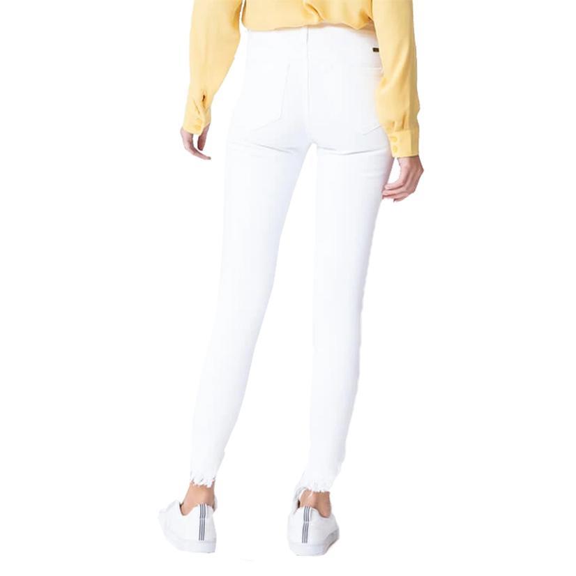 Kancan Gemma High Rise Ankle White Skinny Jeans For Women