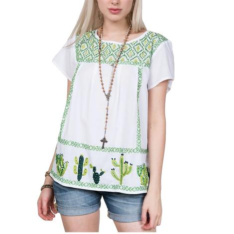 White and Green Embroidered Cactus Women's Top