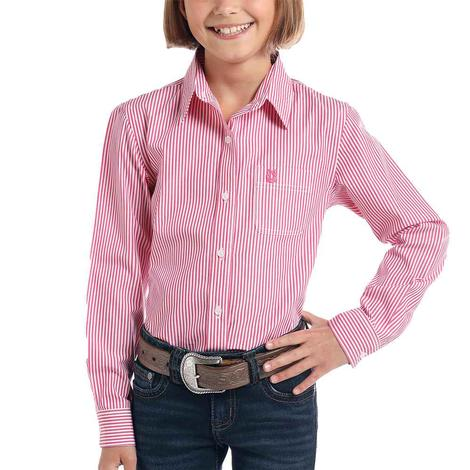 Rock and Roll Cowgirl Pink or Blue Striped Long Sleeve Buttondown Girl's Shirt