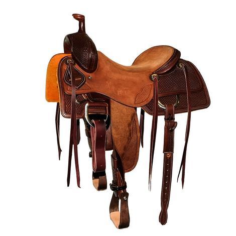 STT Ranch Cutter Mahogany and Natural 3/4 Basket Tool Saddle