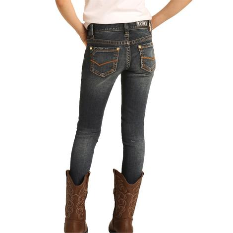 Rock and Roll Cowgirl Dark Wash Girl's Skinny Jeans