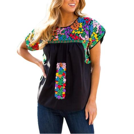 Christina Black Top with Multi Colored Embroidery