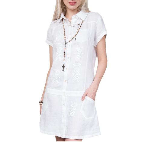 Abby White Button Front Dress
