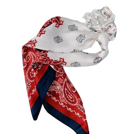 Hotline Hair Ties Red and Navy Handkerchief Scarf