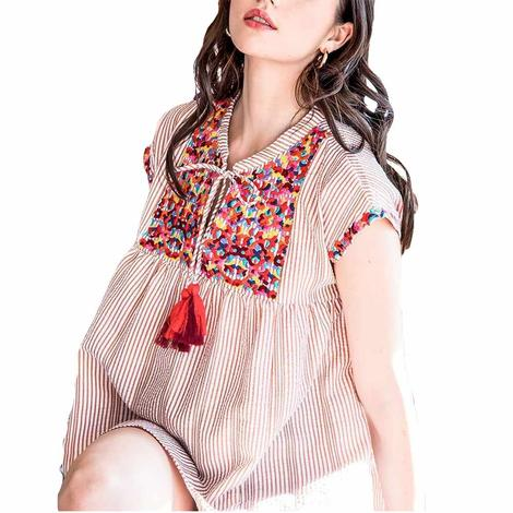 Maroon Striped Multicolor Embroidered Short Sleeve Top