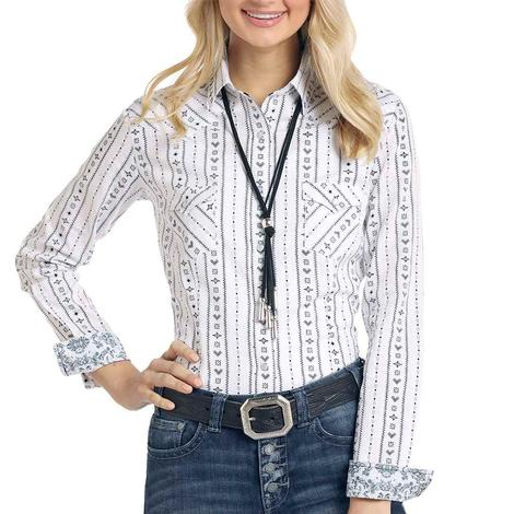 Panhandle White Print Long Sleeve Snap Women's Shirt