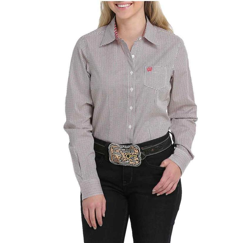 Cinch Black Red Dot Long Sleeve Buttondown Women's Shirt