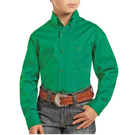 Panhandle Green Long Sleeve Buttondown Boy's Shirt