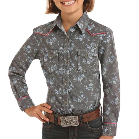 Rock and Roll Cowgirl Charcoal Floral Long Sleeve Snap Girl's Shirt