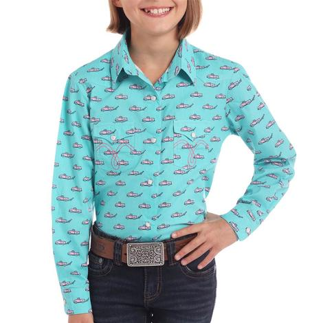 Rock and Roll Cowgirl Light Blue Pink Trucks Long Sleeve Girl's Shirt