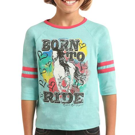 Rock and Roll Cowgirl Born To Ride Teal Girl's Tee