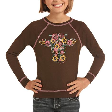 Rock and Roll Cowgirl Brown Floral Cow Tee