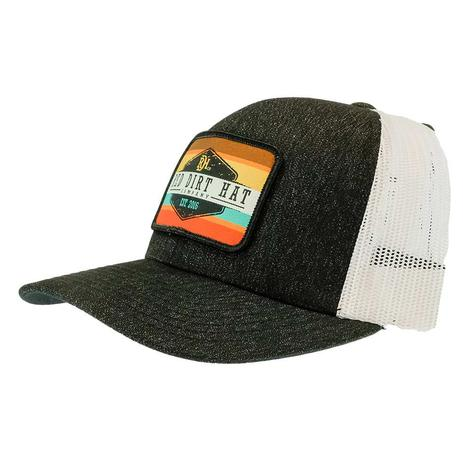 Red Dirt Hat Co Army Sunset Heathered Black and White Meshback Cap