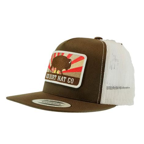 Red Dirt Hat Co Keeping Roaming Brown White Meshback Cap