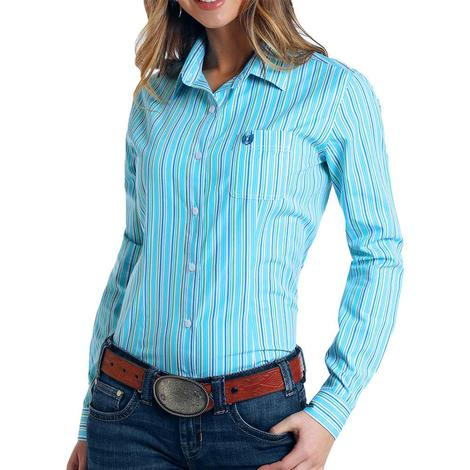 Panhandle Blue Pinstripe Long Sleeve Buttondown Women's Shirt