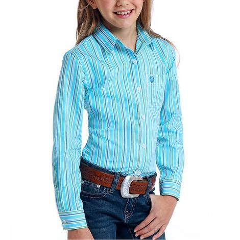 Panhandle Blue Green Stripe Long Sleeve Buttondown Girl's Shirt