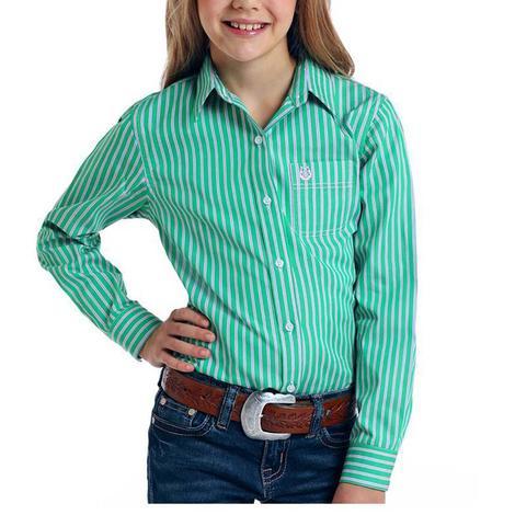 Panhandle Green Pink Stripe Long Sleeve Buttondown Girl's Shirt