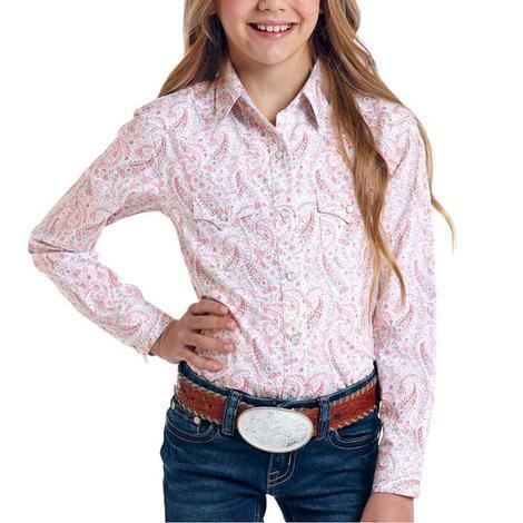 Panhandle Pink Paisley Long Sleeve Snap Girl's Shirt