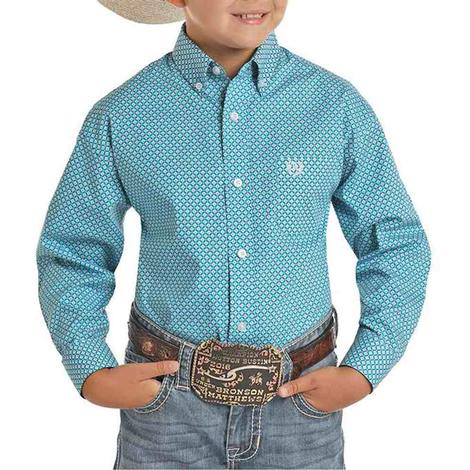 Panhandle Turquoise Print Long Sleeve Buttondown Boy's Shirt