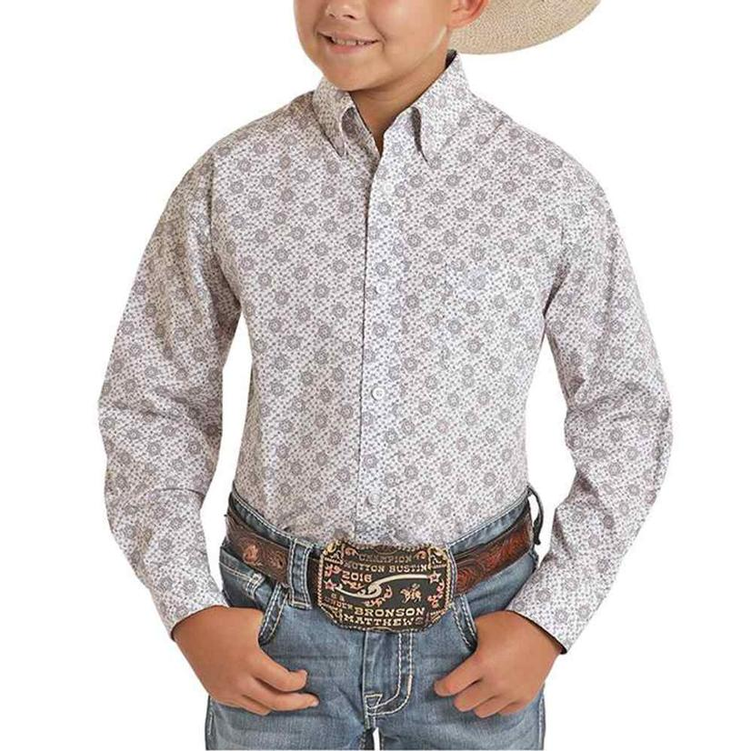 Panhandle White Tan Print Long Sleeve Buttondown Boy's Shirt