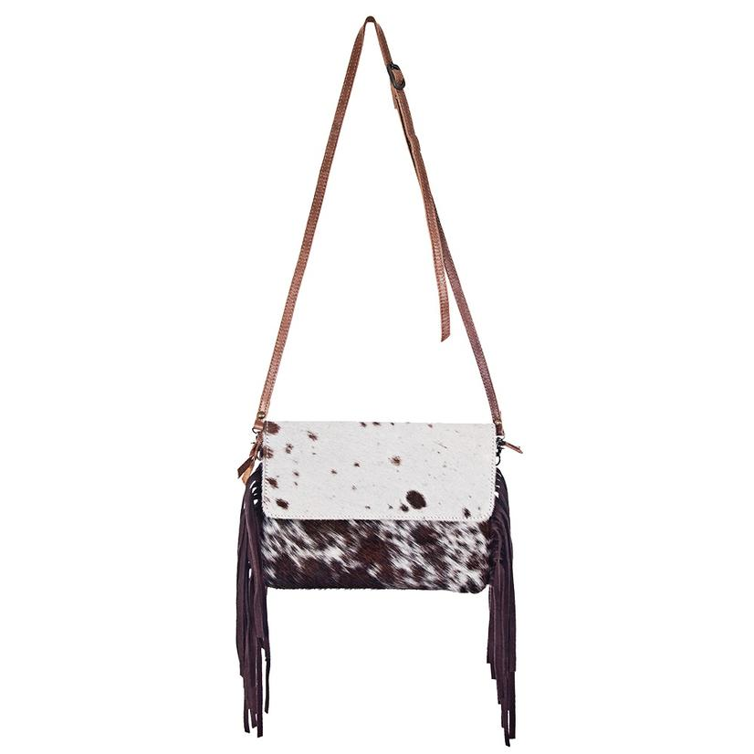 American Darling Bags Brown And White Hide With Fringe Crossbody