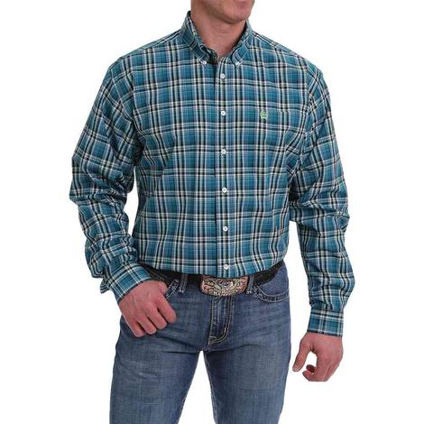 Cinch Teal Plaid Long Sleeve Buttondown Men's Shirt
