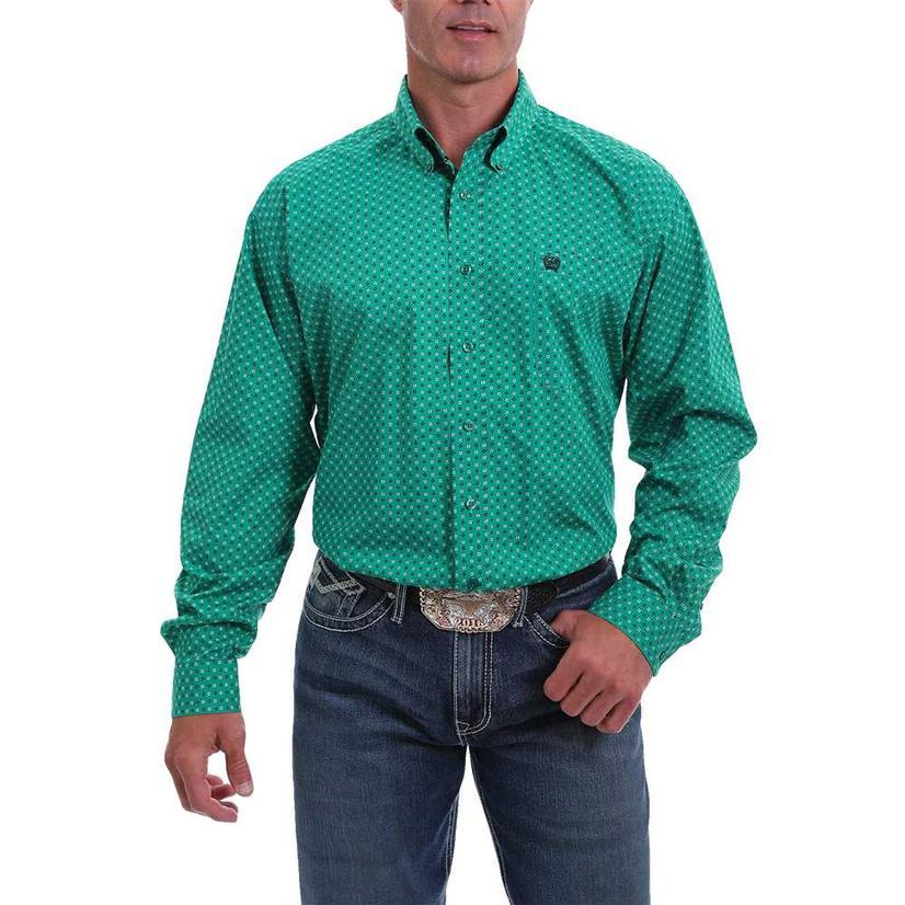 Cinch Green Print Long Sleeve Buttondown Men's Shirt