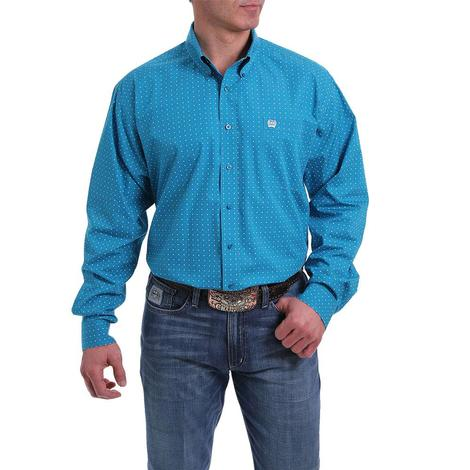 Cinch Turquoise Print Long Sleeve Men's Shirt