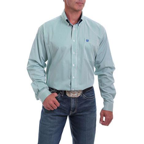 Cinch Green Tencel Stripe Long Sleeve Buttondown Men's Shirt