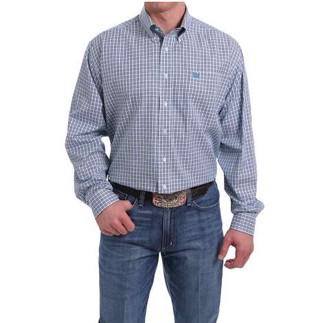 Cinch Tencel White Blue Plaid Long Sleeve Shirt
