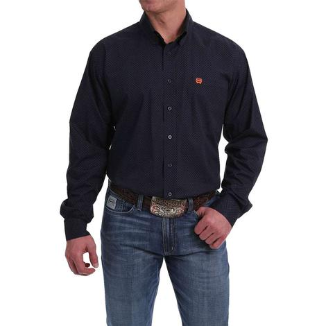 Cinch Navy Orange Long Sleeve Men's Shirt