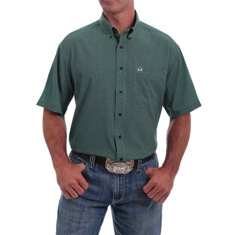 Cinch Green Print Short Sleeve Buttondown Men's Shirt