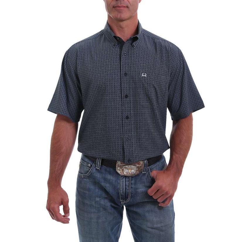 Cinch Areanaflex Navy Print Short Sleeve Buttondown Men's Shirt