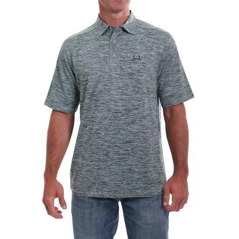 Cinch Heathered Grey Short Sleeve Polo Style Men's Shirt