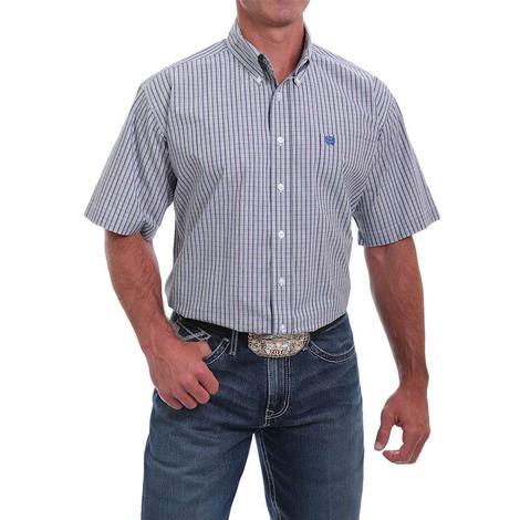 Cinch White Plaid Short Sleeve Buttondown Men's Shirt