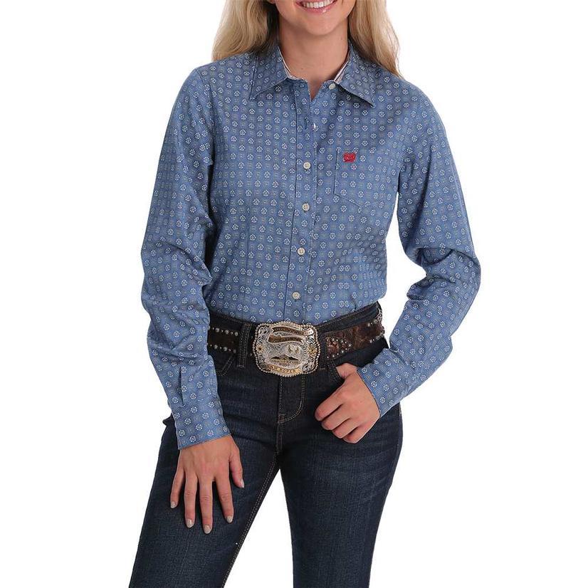 Cinch Blue Print Tencel Long Sleeve Buttondown Women's Shirt