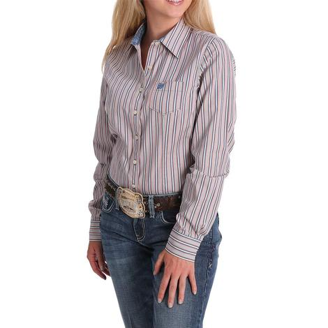 Cinch Blue Pink Stripe Long Sleeve Buttondown Women's Shirt