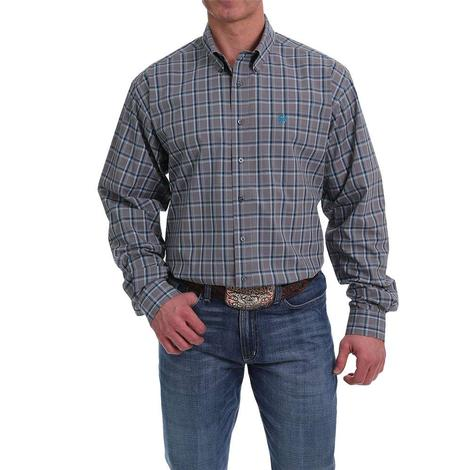 Cinch Grey Blue Plaid Long Sleeve Men's Shirt