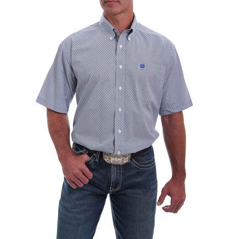 Cinch Blue White Print Short Sleeve Buttondown Men's Shirt